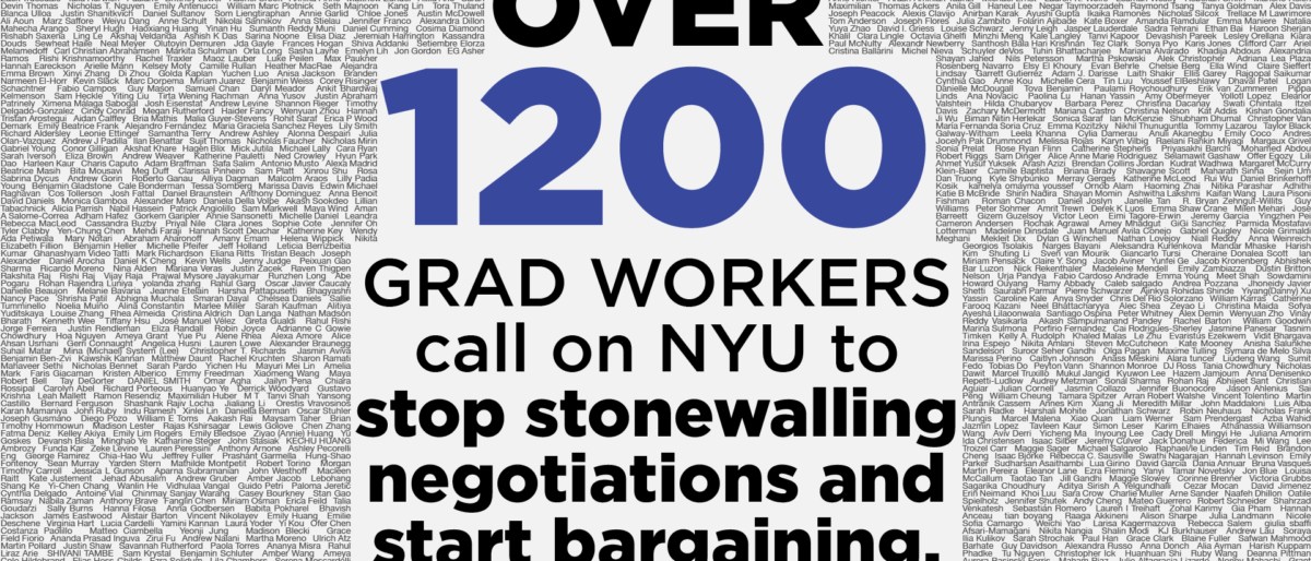 "Permalink to: OVER 1200 UNION GRAD WORKERS DEMAND ""NYU, STOP STONEWALLING"""